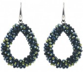 A-D4.3 E007-001B Facet Glass Beads 4.5x3.5cm Black-Multi