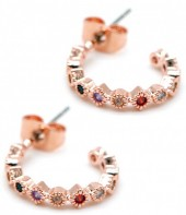 A-B21.1 E1929-004R Earrings with Multi Color Cubic Zirconia Rose Gold