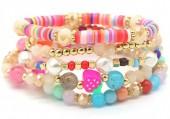 D-E15.1 B536-043B Elastic Bracelet Set 5pcs Fruits Pink-Multi