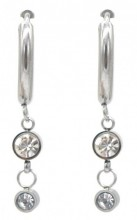 C-B3.3 E1934-001S Stainless Steel 15mm Earrings with 15mm Charms Silver