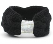 R-N4.1 H114-003 Knitted Headband with Crystals Black