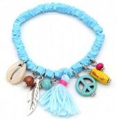 D-C2.2 B302-006 Elastic Surf Bracelet with Beads and Tassel Blue