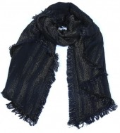 L-E6.1 Scarf with Glitters and Fringes 190x70cm Dark Blue