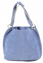 Y-E5.3 BAG112-002 Trendy Shopper with Metal Chain Blue