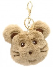 S-K8.2  KY2035-010E Fluffy Keychain Mouse 10x8x3cm Brown