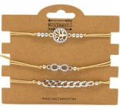 C-A23.1 B316-045 Bracelet Set 3pcs Chain-Infinity-Tree of Life Brown