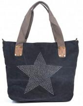 Q-K7.1 BAG017-005 Black Canvas Bag with Studded Star 43x31x16cm