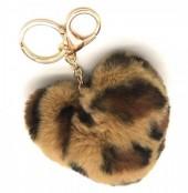 S-E5.2  KY414-001C Fluffy Keychain 10cm Heart Leopard Light Brown