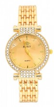 WA203-004 Quartz Watch Metal with Crystals Gold