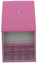 Q-L4.1 Storage Box for Jewelry with 9 Cabinets 20x20x5cm Pink