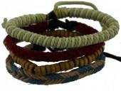 D-E3.8 E032-007 Unisex Bracelet Set Rope-Wood-Leather