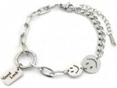 A-G10.2 B014-011S S. Steel Bracelet Smiley - Good Luck Silver