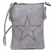 Q-N8.2 BAG012-005 PU Crossbody Bag with Studded Star 20x15cm Grey