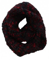 S-E6.4 Knitted Winter Scarf Viscose Black-Red