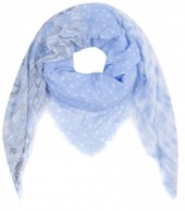 T-F2.2 S001-001 Square Scarf with Stars 140x140cm Blue