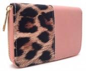 Q-N7.1  WA420-002 PU Wallet with Leopard print 15x10cm Pink