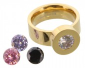 G-E18.1  Stainless Steel Ring Gold R004-037 Size 17 Interchangeable Diamonds