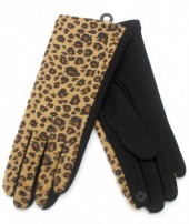 GL209-001 Gloves with Leopard Print Brown