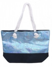 Y-C2.4 BAG327-002 Velvet Beach Bag with Metallic Print Blue
