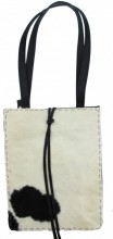 S-B6.3 Leather Cowhide Shopper Black with Black-White Cowhide 29x37x15cm