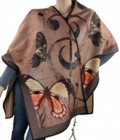 Z-F7.5  Soft Poncho with Feather and Butterflies Brown