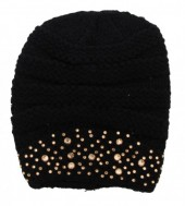T-O3.2 Beanie with Crystals Black