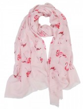 X-D8.2 S106-028 Scarf with Glitters and Flamingos 70x180cm Pink