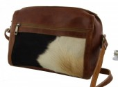 R-A5.1 Luxury Leather Bag with Mixed Cow Hide 30x27x10cm Brown