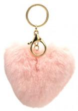 S-B5.5  KY414-003A Fluffy Bag-Keychain 10cm Heart Pink