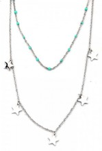 F-C5.2 N317-008 Layered Stainless Steel Necklace Beads and Stars