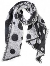 Z-A3.2 S109-002 Scarf with Dots 64x180cm Black-White