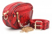T-H2.1  BAG212-006 PU Snakeskin Combination Bag incl Belt Red