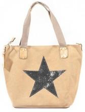 Q-L4.1 BAG118-004 Canvas Bag with Glitter Star 43x31cm Brown