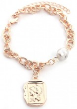 C-E15.2  B2019-004RG Chain Bracelet with Pearl and Coin Rose Gold