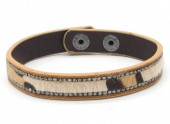 B-C3.5 B1202-214 Bracelet with Leopard Print and Crystals Brown