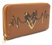 Q-J2.2 WA117-004 PU Wallet with Sequins Heartbeat 19x10cm Brown
