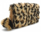 S-D8.2 WA117-005 Soft Fake Fur Wallet with Pompon 19x10cm Leopard Print Brown
