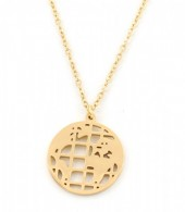 B-C5.2 N1902 Stainless Steel Necklace with World Map 15mm Gold