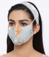 Set Face Mask with Headband - Washable - Flower- Green