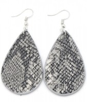 C-D8.1  E220-011 PU Snakeskin Earrings 6x3cm Grey