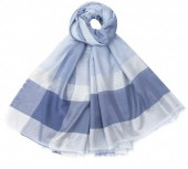 K-E2.2 S002-002 Soft Square Scarf Shiny 140x140cm Blue-Silver