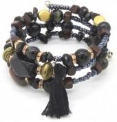 B102-001 Wrap Bracelet with Real Stones Black