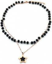 C-F3.2 N2020-002RG S. Steel Necklace Glassbeads and 20mm Star Rose Gold
