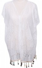 S-E4.1 Beach Poncho with Lace and Coins White