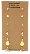 F-C15.2  E426-023 Earring Set 6 Pairs Gold