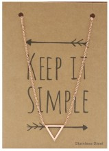 N1759-004 Stainless Steel Necklace Thick Triangle Rose Gold