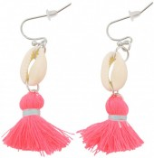 G-B6.3 E009-010 Shell with Tassel Bright Pink 5cm