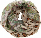 S-E5.1 Loop Scarf with Animal Print Multi Color