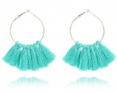 A-B3.7 Creoles with Tassels 7x4cm Blue