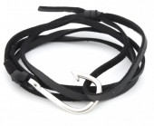 B019-058 PU Wrap Bracelet with Hook Black-Silver